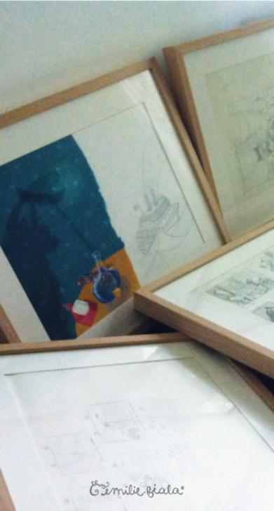 Exposition illustration Emilie Fiala librairie croquis originaux