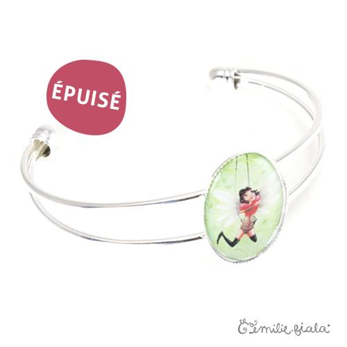 Bracelet simple Battement de Coeur argenté profil Emilie Fiala-Epuisé