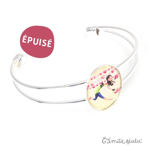 Bracelet simple L'Accroche-Coeurs argenté profil Emilie Fiala-Epuisé