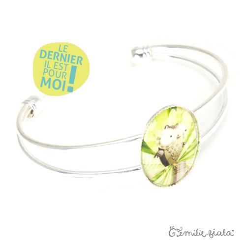 Bracelet simple La Chouette argenté profil Emilie Fiala-Dernier