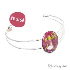 Bracelet simple La Flamant Rose argenté profil Emilie Fiala-Epuisé