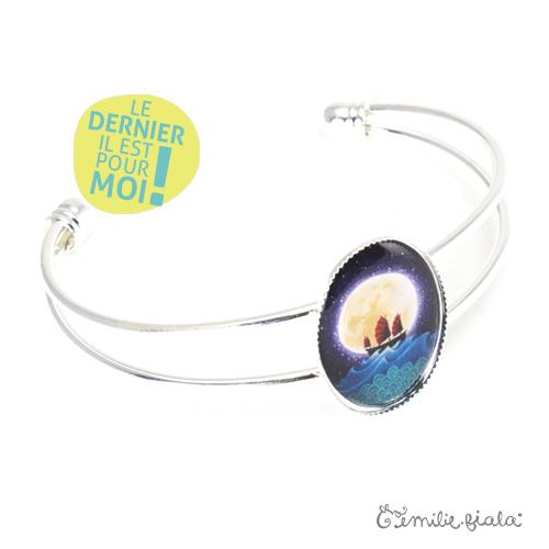 Bracelet simple La Jonque argenté profil Emilie Fiala-Dernier