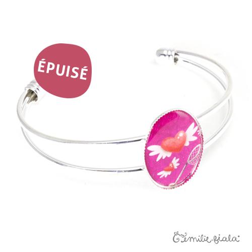 Bracelet simple Le Coeur Ailé argenté profil Emilie Fiala-Epuisé