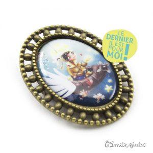 Broche Le Pêcheur d'Etoiles bronze antique profil Emilie Fiala