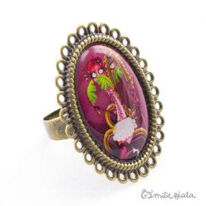 Grande bague La Flamant Rose bronze antique Profil Emilie Fiala
