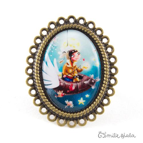 Grande bague Le Pêcheur d'Étoiles bronze antique Emilie Fiala