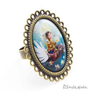 Grande bague Le Pêcheur d'Étoiles bronze antique Profil Emilie Fiala