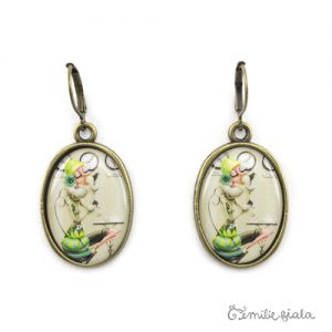 Grandes boucles d'oreilles simples bronze antique Tea Time face Emilie Fiala