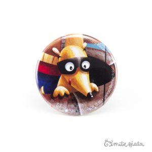 Petit badge Le Coquin Masqué face Emilie Fiala