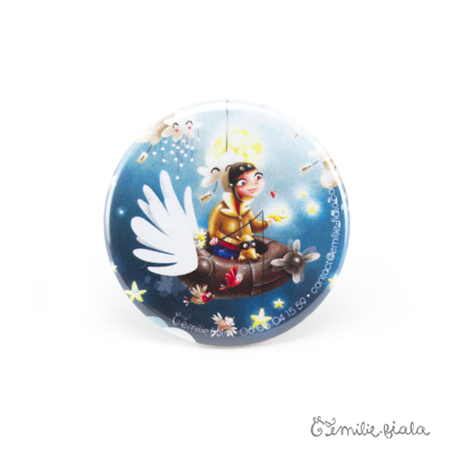 Petit badge Le Pêcheur d'Étoiles face Emilie Fiala