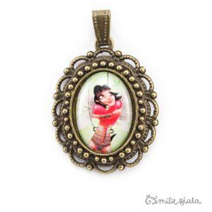 Petit pendentif fantaisie Battement de Coeur bronze antique face Emilie Fiala