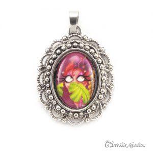 Petit pendentif fantaisie La Pin-Up au Palmier argenté face Emilie Fiala