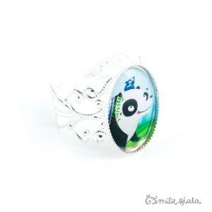 Petite bague Le Panda argentée profil Emilie Fiala