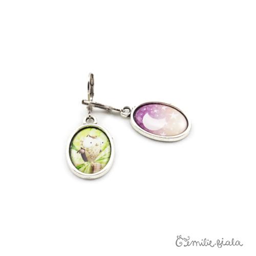Petites boucles d'oreilles simples argenté La Chouette profil Emilie Fiala