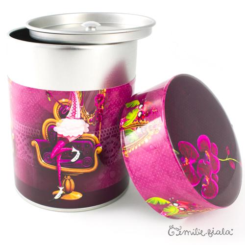 Boîte ronde La Flamant Rose ouvert Emilie Fiala