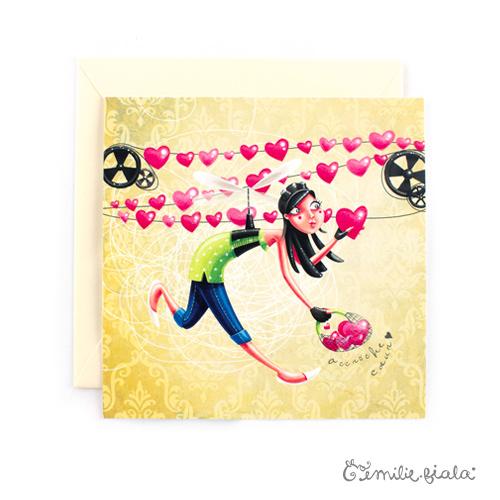 Carte carrée L'Accroche-Coeurs face Emilie Fiala
