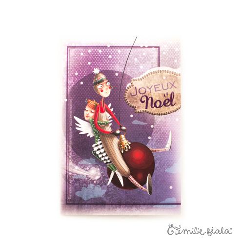 Carte double Joyeux Noël face Emilie Fiala