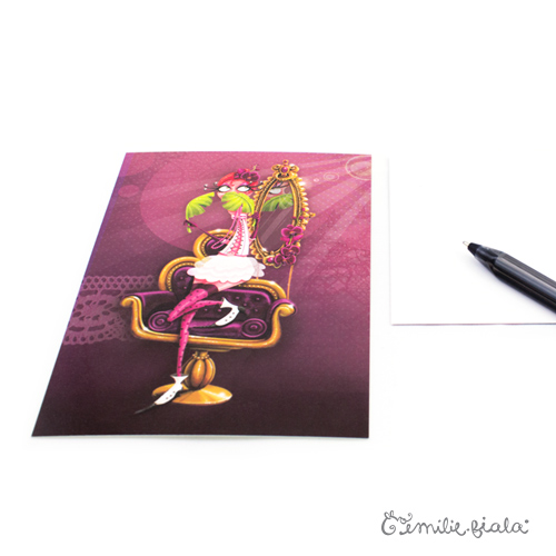 Carte postale La Flamant Rose profil Emilie Fiala