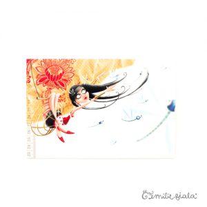 Carte postale La Trapéziste face Emilie Fiala