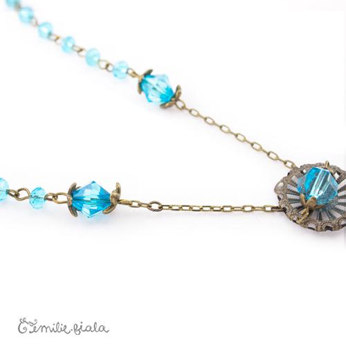 Collier créatif Bleu Givré perles Emilie Fiala