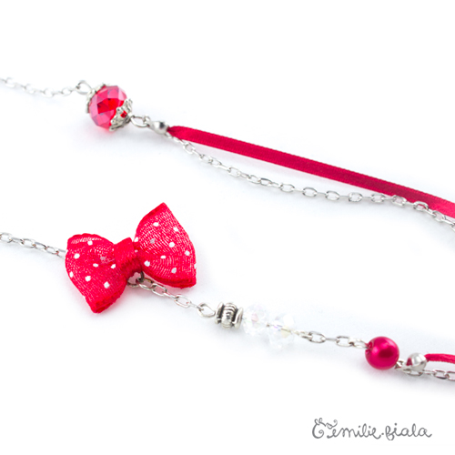Collier créatif Kawaii perles ruban Emilie Fiala