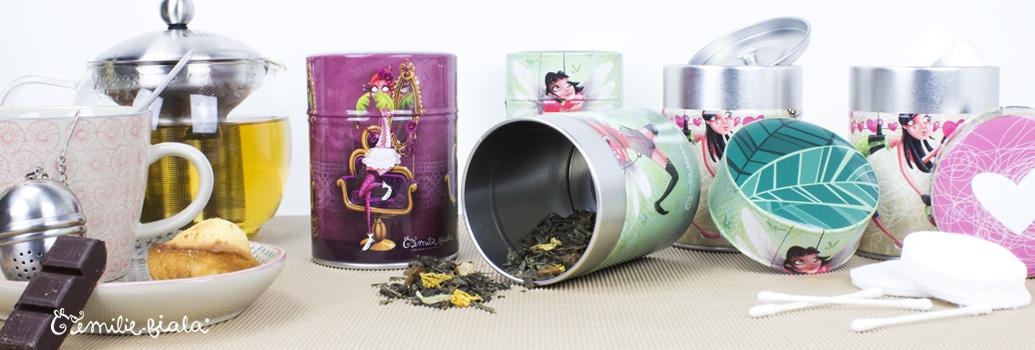 Emilie Fiala Créations Illustrées Boîtes à thé