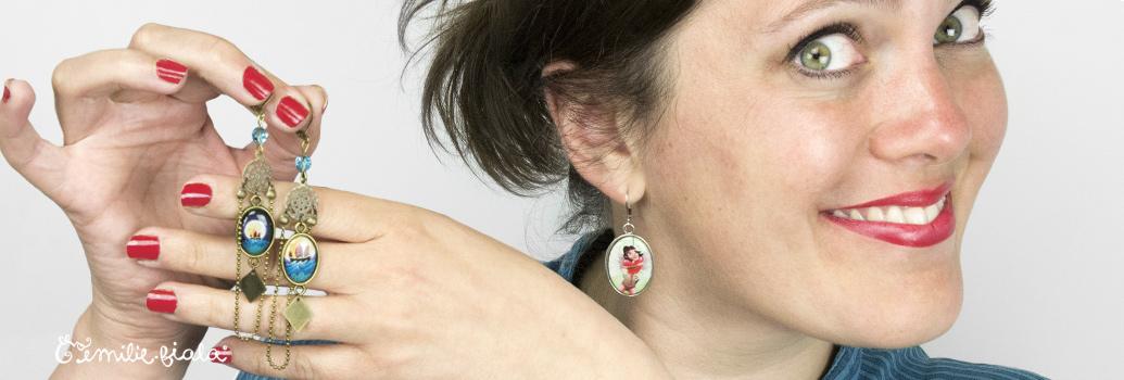 Emilie Fiala Créations Illustrées Boucles d'oreilles