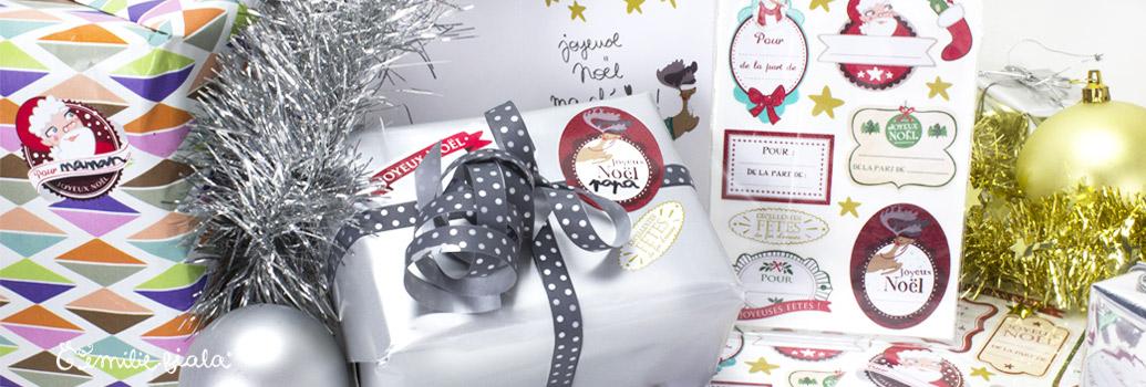 Emilie Fiala Créations Illustrées Etiquettes de Noel