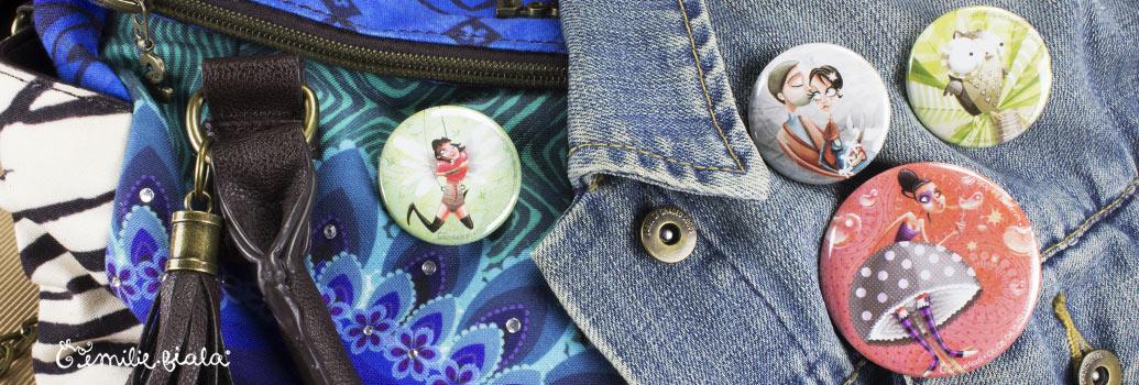 Emilie Fiala créations illustrées badge