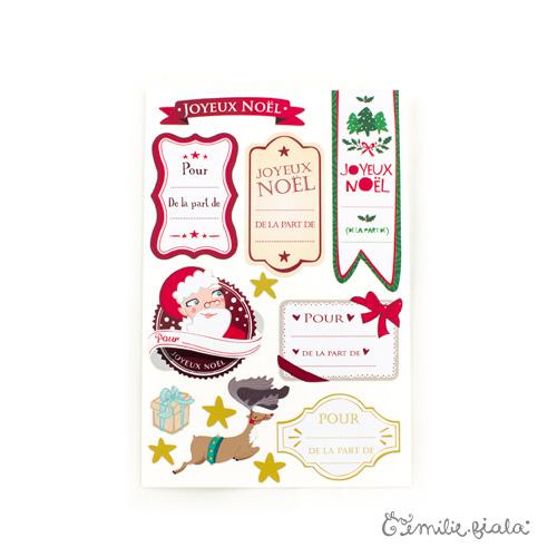 Étiquettes de Noël recto Emilie Fiala