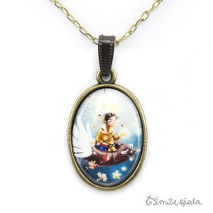 Grand collier simple Le Pêcheur d'Etoiles bronze antique zoom Emilie Fiala