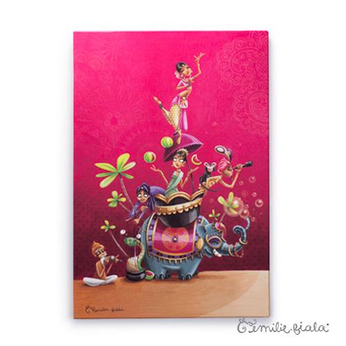 Grand tableau d'artiste Sur la Route des Indes Emilie Fiala