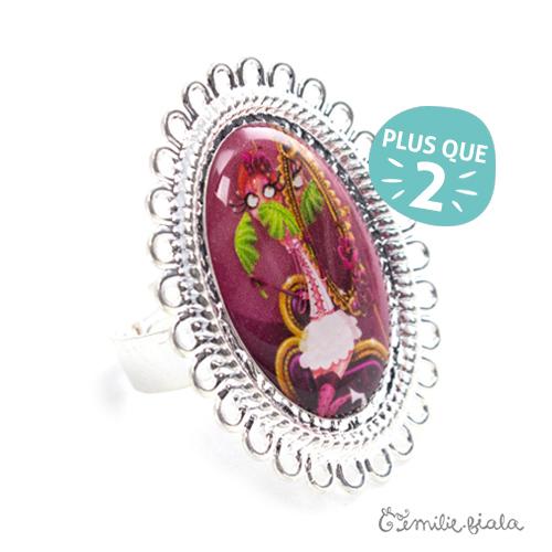 Grande bague La Flamant Rose argentée Profil Emilie Fiala-2