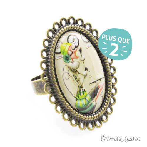 Grande bague Tea Time bronze antique Profil Emilie Fiala-2