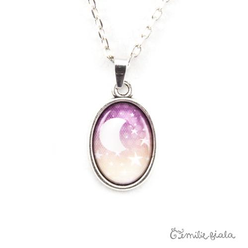 Petit collier simple La Lune Étoilée argenté zoom Emilie Fiala