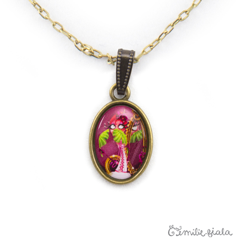Petit pendentif simple La Flamant Rose bronze antique zoom Emilie Fiala