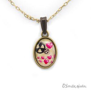 Petit pendentif simple La Mécanique du Coeur bronze antique zoom Emilie Fiala
