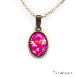 Petit pendentif simple Le Coeur Ailé bronze antique zoom Emilie Fiala