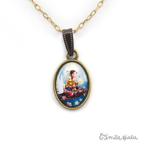 Petit pendentif simple Le Pêcheur d'Étoiles bronze antique zoom Emilie Fiala