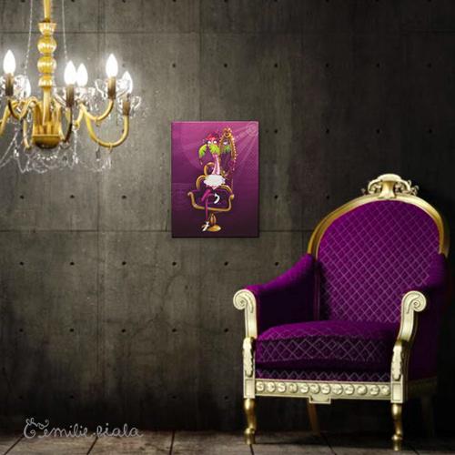 Petit tableau d'artiste La Flamant Rose simulation Emilie Fiala