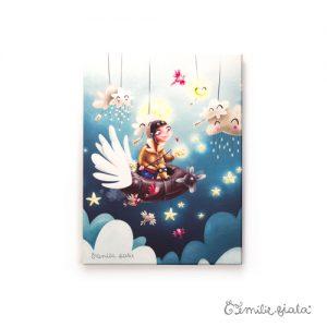 Petit tableau d'artiste Le Pêcheur d'Étoiles Emilie Fiala