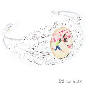 Bracelet fantaisie L'Accroche-Coeurs argenté profil Emilie Fiala