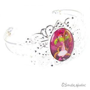 Bracelet fantaisie La Flamant Rose argenté profil Emilie Fiala