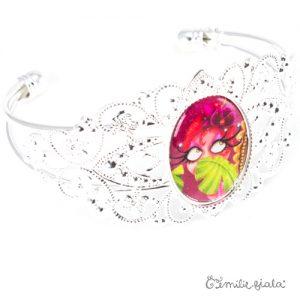 Bracelet fantaisie La Pin-up au Palmier argenté profil Emilie Fiala