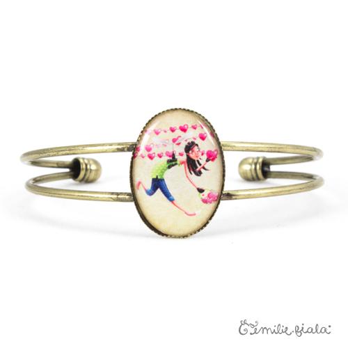 Bracelet simple L'Accroche-Coeurs laiton face Emilie Fiala