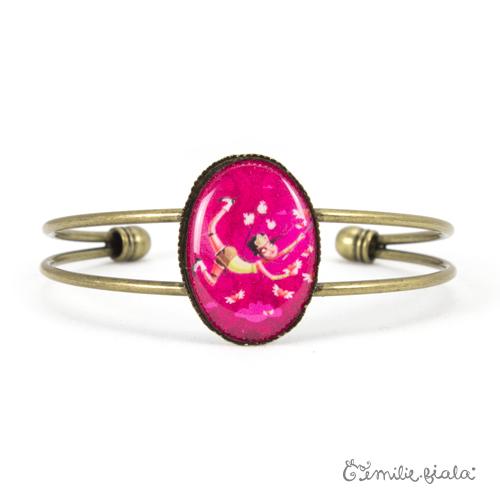 Bracelet simple L'Attrape-Coeurs laiton face Emilie Fiala