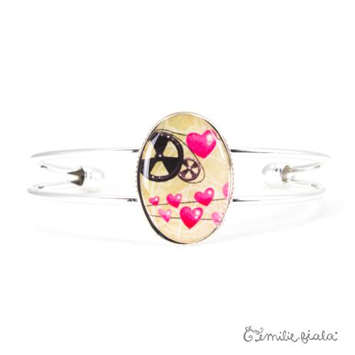 Bracelet simple La Mécanique du Coeur argenté face Emilie Fiala