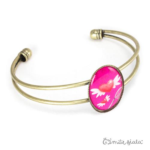 Bracelet simple Le Coeur Ailé laiton profil Emilie Fiala