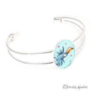 Bracelet simple Le Pélican argenté profil Emilie Fiala