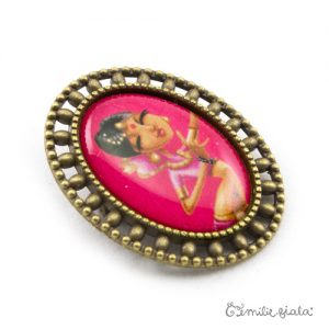 Broche L'Indienne bronze antique profil Emilie Fiala
